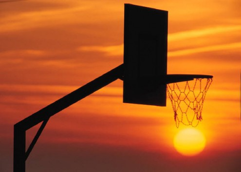 Basketball hoop and sunset